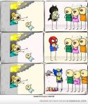 superheros catching babies