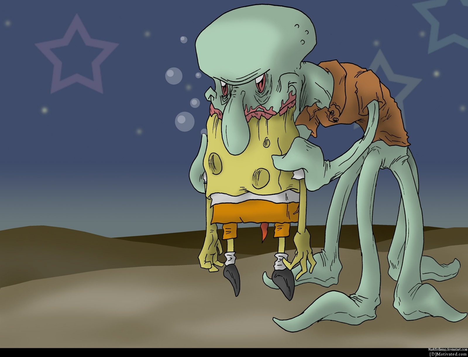 Squidward Munching On Spongebob