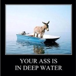 your ass is in deep water